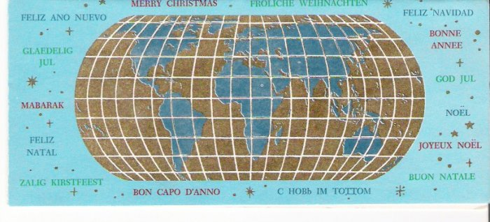 1962 Walter Kane & Son Inc. World Languages Greetings Merry Christmas Card in New York City Envelope