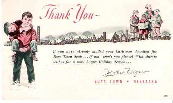 1940s Boys Town Nebraska Father Wegner Christmas Greetings Postcard