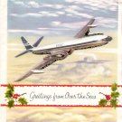 1962 BOAC Aviation Collectible Christmas Card in Birmingham UK Envelope