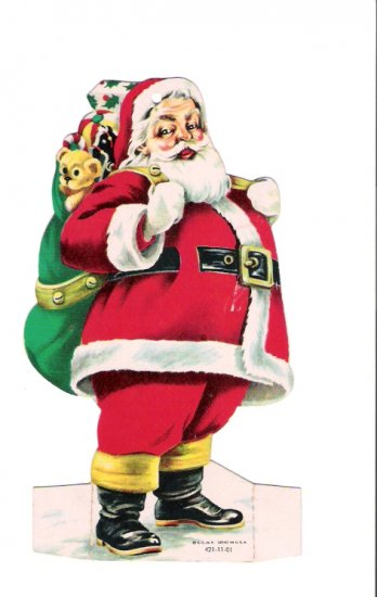 1966 Santa Claus First National Bank Staunton Illinois Die-Cut  Advertising Paper Ornament