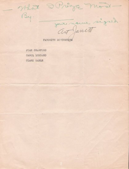 Bandleader/Actor Art Jarrett Autographed Mail Interview Page