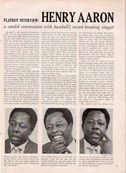 May 1974 Henry Aaron Playboy Interview