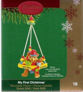 Carlton Cards My First Christmas 2005 #18 Baby Bear in Airplane Jumper Mint in Box
