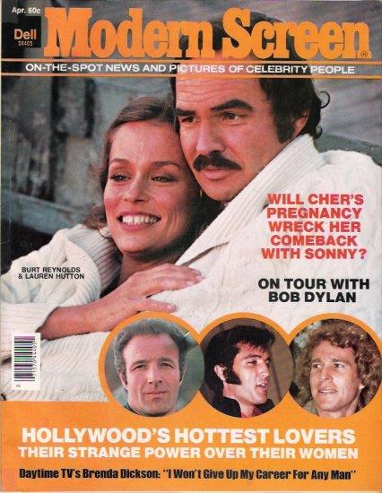 Burt Reynolds-Lauren Hutton April 1976 Modern Screen Magazine Cover