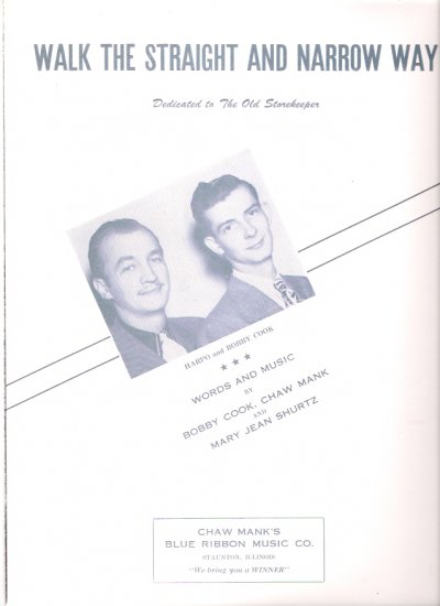 Walk the Straight and Narrow Way Harpo & Bobby Cook Vintage Country Western Sheet Music