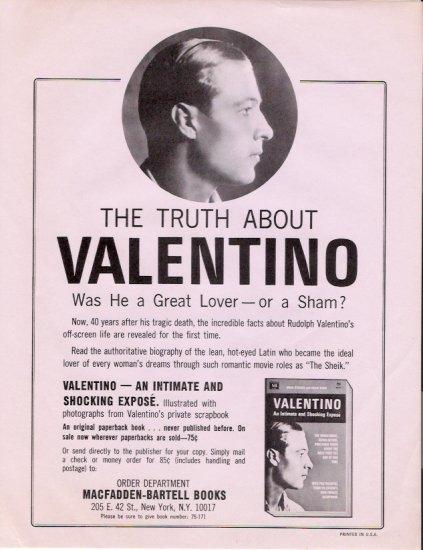 Rudolph Valentino 1966 Book Advertising Flyers