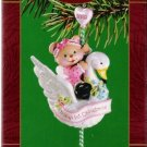Carlton Cards Baby Girl's First Christmas Swan Carousel 2002 #22 Ornament Mint in Box