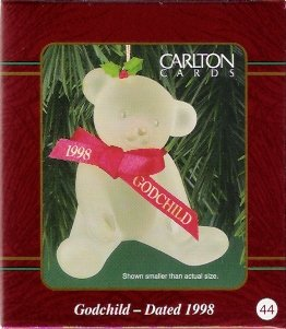 Carlton Cards Godchild 1998 Bear with Ribbons #44 Christmas Ornament Mint in Box