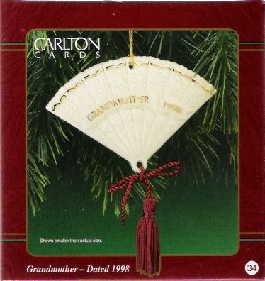 Carlton Cards Grandmother 1998 #34 Christmas Ornament Antique Fan Design Mint in Box