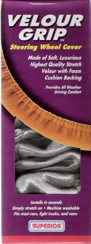 Superior Velour Gray Grip Steering Wheel Cover 58-1760Y New in Box