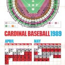 St. Louis Cardinals 1989 Large Foldout Baseball Schedule
