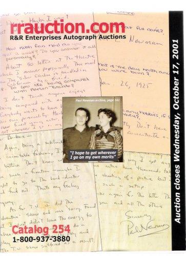 R&R Enterprises Autograph Auction Paul Newman Oct. 2001 Catalog 254