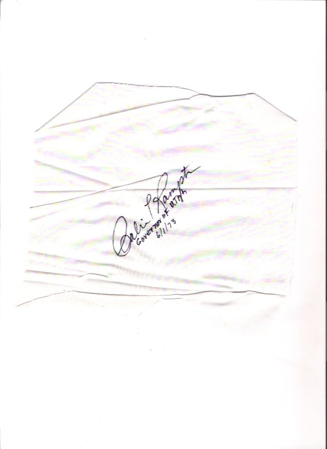 Calvin L. Rampton Utah Governor 1973 Autographed Cloth Square in Envelope
