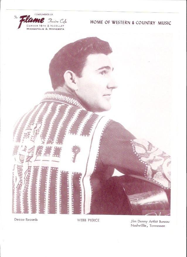 Original Webb Pierce 1960s Flame Theatre Minneapolis Vintage Country Music Photo