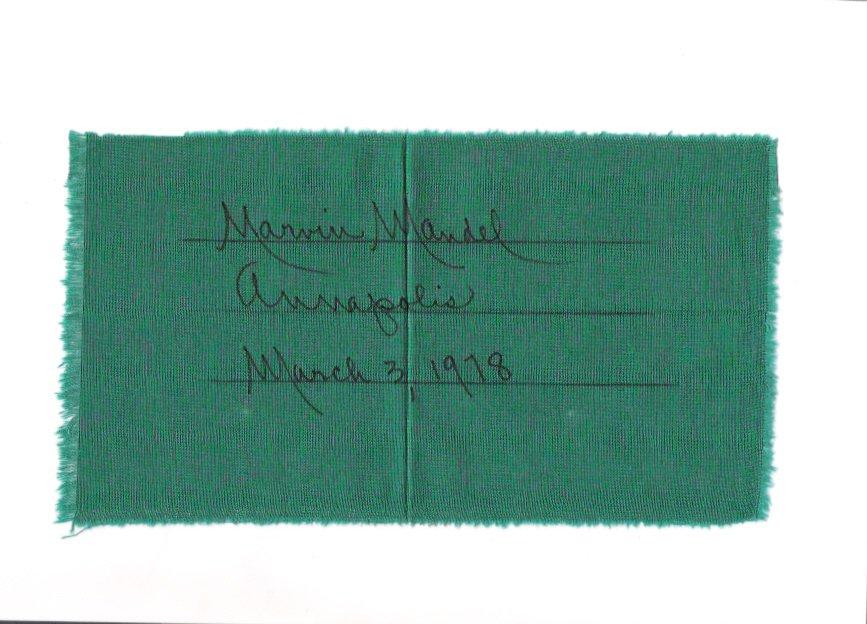 Marvin Mandel Maryland Governor 1978 Autographed Quilt Square in Envelope