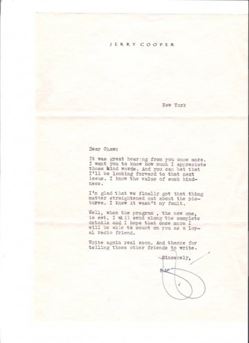 Jerry Cooper Vintage NBC Radio Movie Actor 1939 Autographed Letter in Envelope