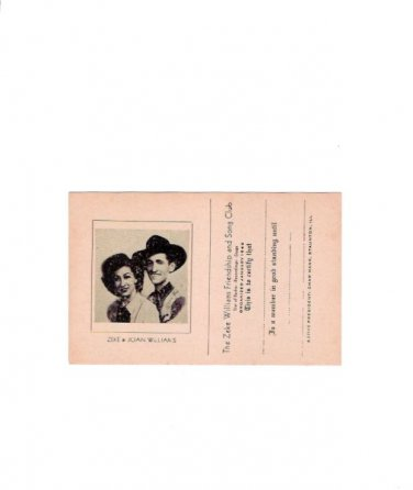 Zeke Williams 1945 Country Music Fan Club Card Unused Near Mint
