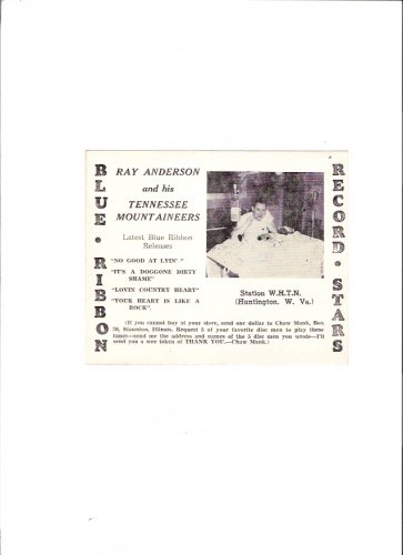 Ray Anderson & Tennessee Mountaineers Country Music 1940s WHTN Radio Promo Card