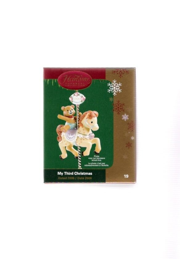 Carlton Cards My Third Christmas #19 Baby Bear Carousel Ornament Mint in Box