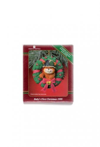 American Greetings Baby's First Christmas 1999 Teddy Bear in Xmas Wreath Mint in Box