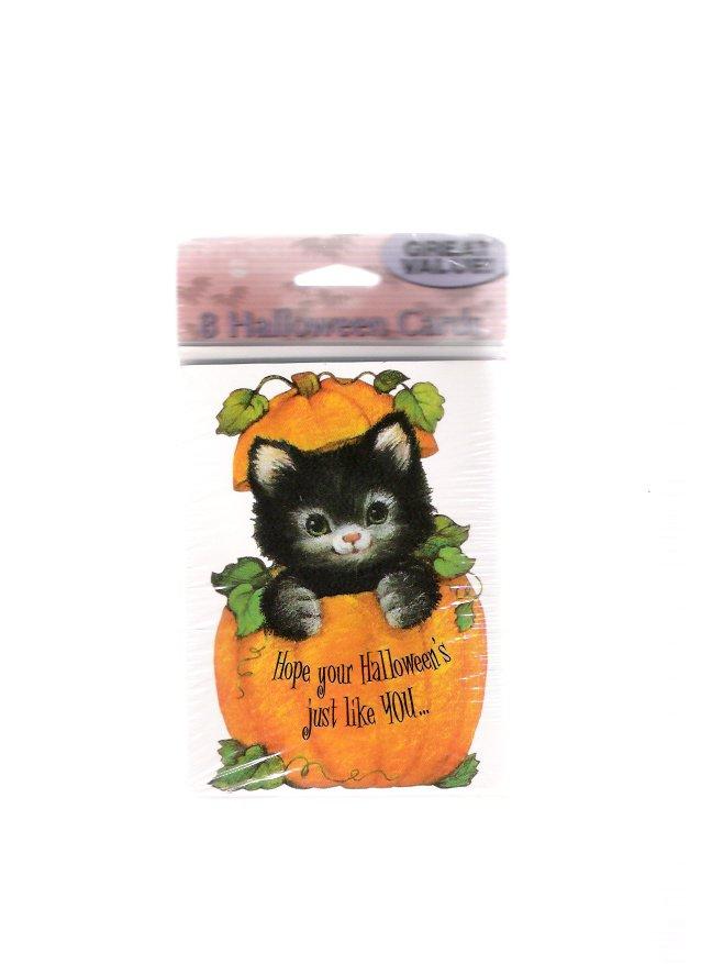 Vintage American Greetings Black Kitten Halloween Cards New Unopened Package