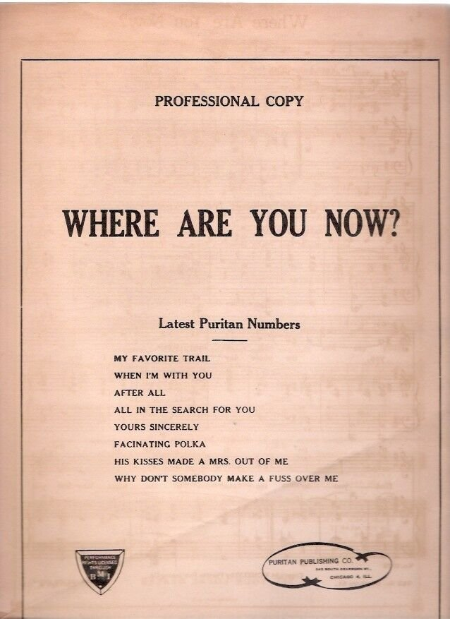Puritan Publishing Co. Chicago IL 1945-46 Sheet Music Still in Envelope