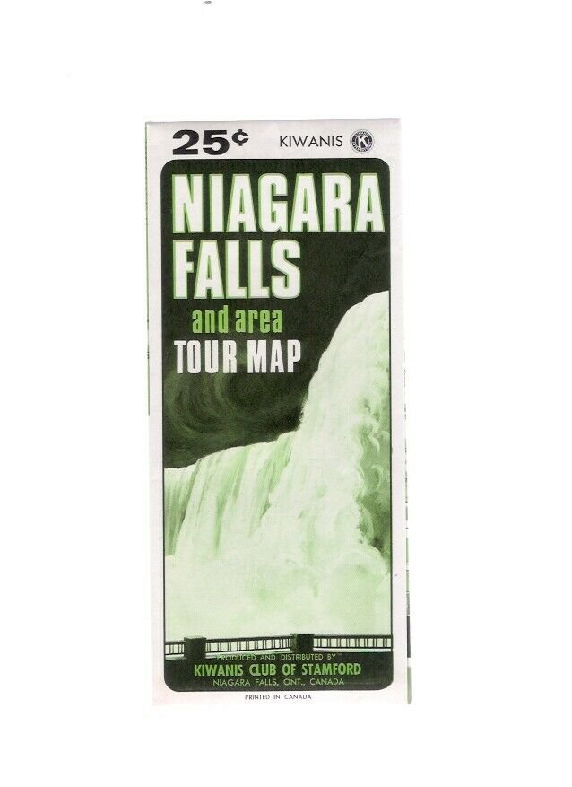 Vintage 1960s Niagara Falls Ontario & Area Canada Tour Map Kiwanis Club Stamford