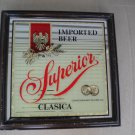 Vintage Superior Clasica Imported Beer Bar Mirror Sign in Wood Frame
