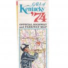 Vintage 1974 Kentucky Official Highway & Parkway Map Kentucky Derby