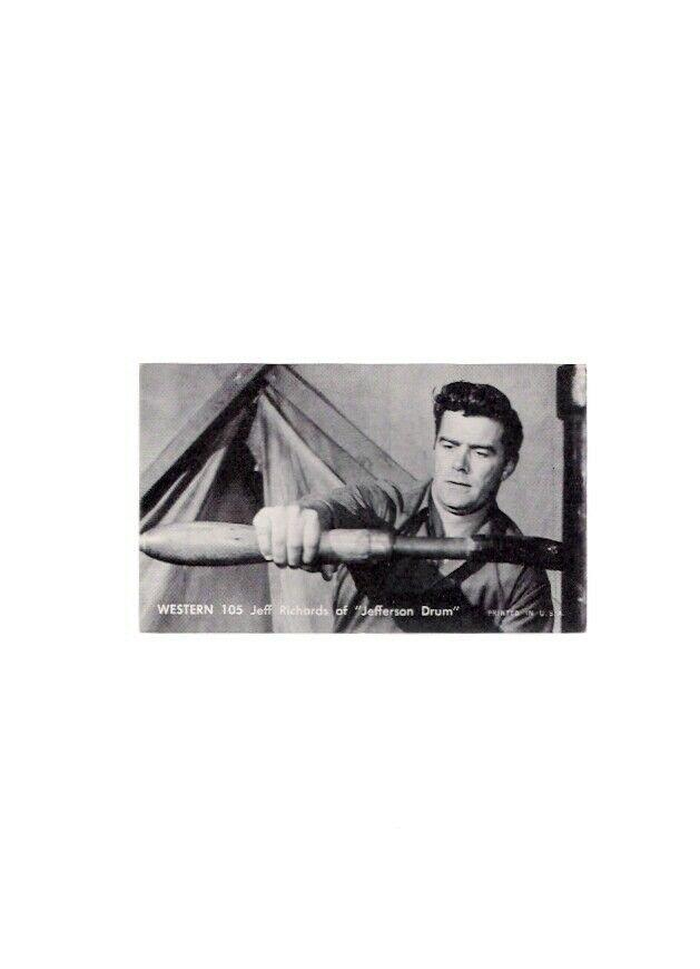 Nu Card 1959 TV Western 105 Jeff Richards Jefferson Drum Thrift Long Island Back