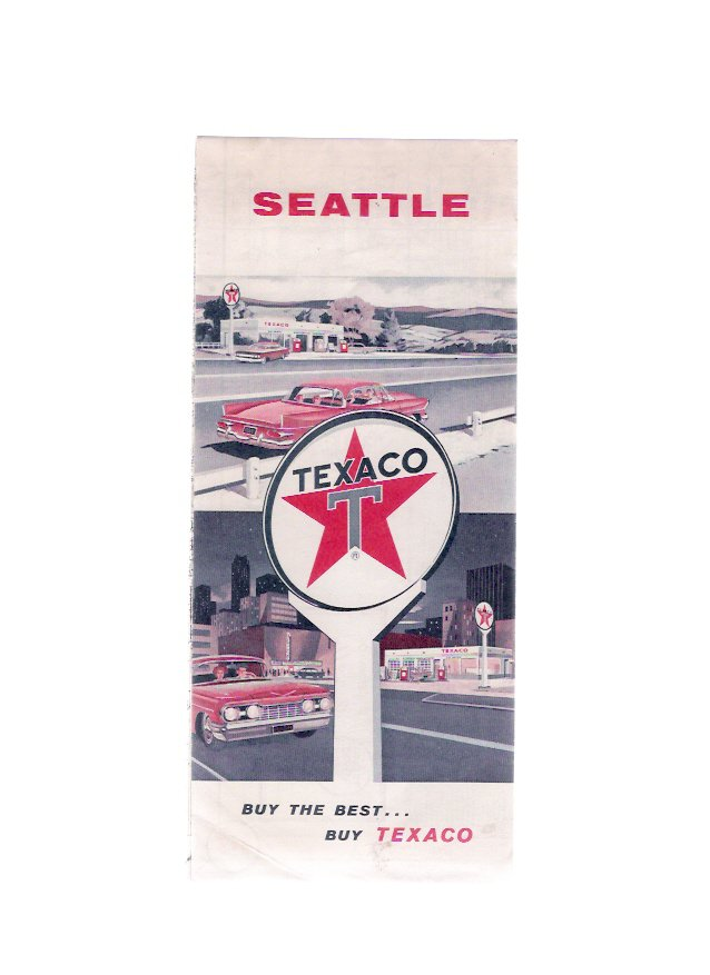 Vintage 1960 Seattle Washington Texaco Road & Travel Map