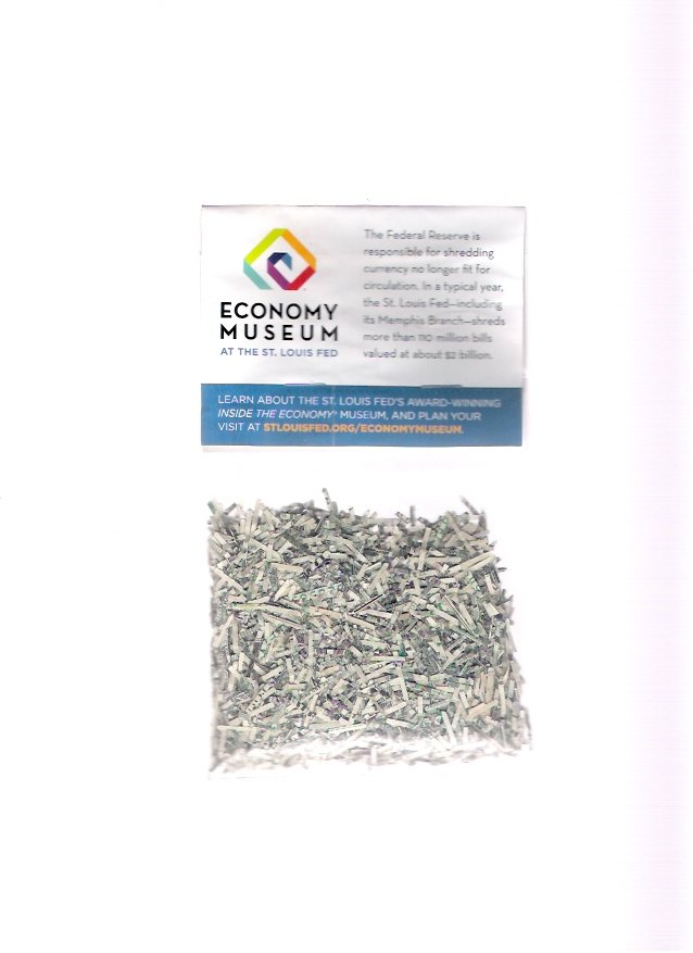 Shredded Money Bag U.S. Currency St. Louis Federal Reserve Economy Museum