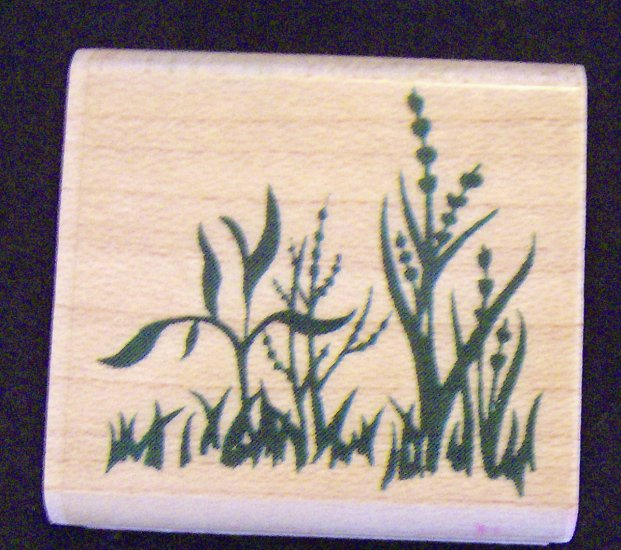 Inkadinkado 6704-K Grass & Leaves Rubber Stamp Wood Mounted