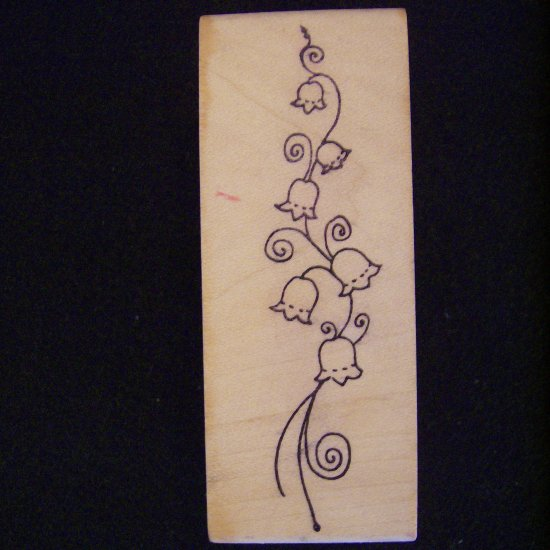 Magenta Flower Vine Rubber Stamp  Wood Mounted