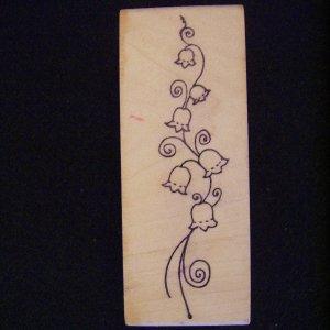 Magenta Flower Vine Rubber Stamp  Wood Mounted