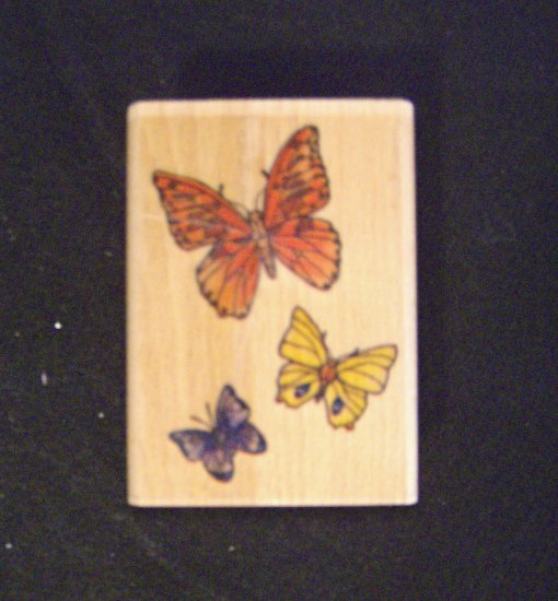 Butterflies Rubber Stamp Wood Mounted Stamp Craft New