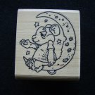 Mouse on the Moon Green Cheese Rubber Stamp Wood Mounted New