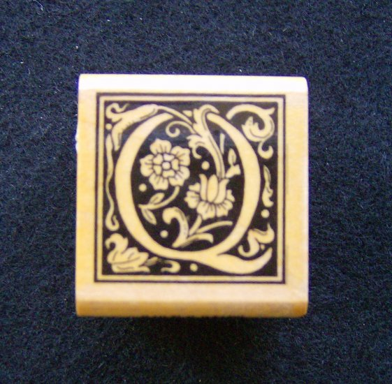 All Night Media Q Ornate Alphabet Letter Rubber Stamp New Retired  Wood Mounted