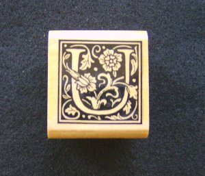 All Night Media U Ornate Alphabet Letter Rubber Stamp New Retired  Wood Mounted