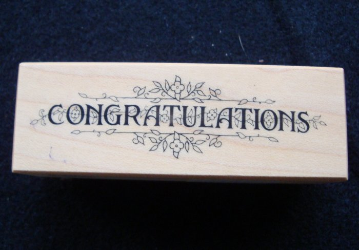 PSX D-458 Congratulations Floral Border Rubber Stamp New 1984