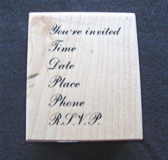 PSX E-438 Invitation Rubber Stamp New 1984