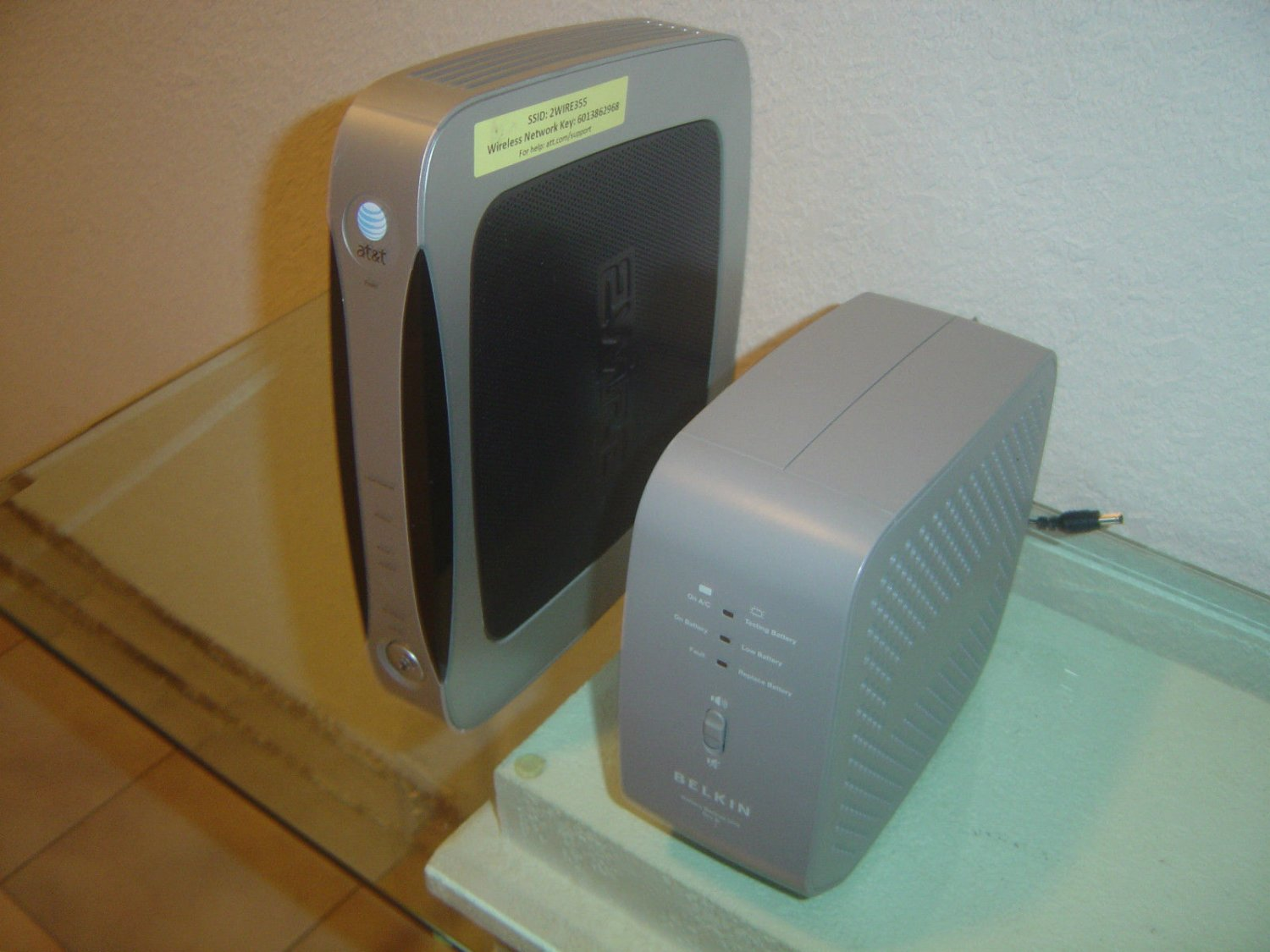 AT&T 2WIRE MODEM WIRELESS G ROUTER 3600HGV BELKIN BATTERY BACK-UP ...