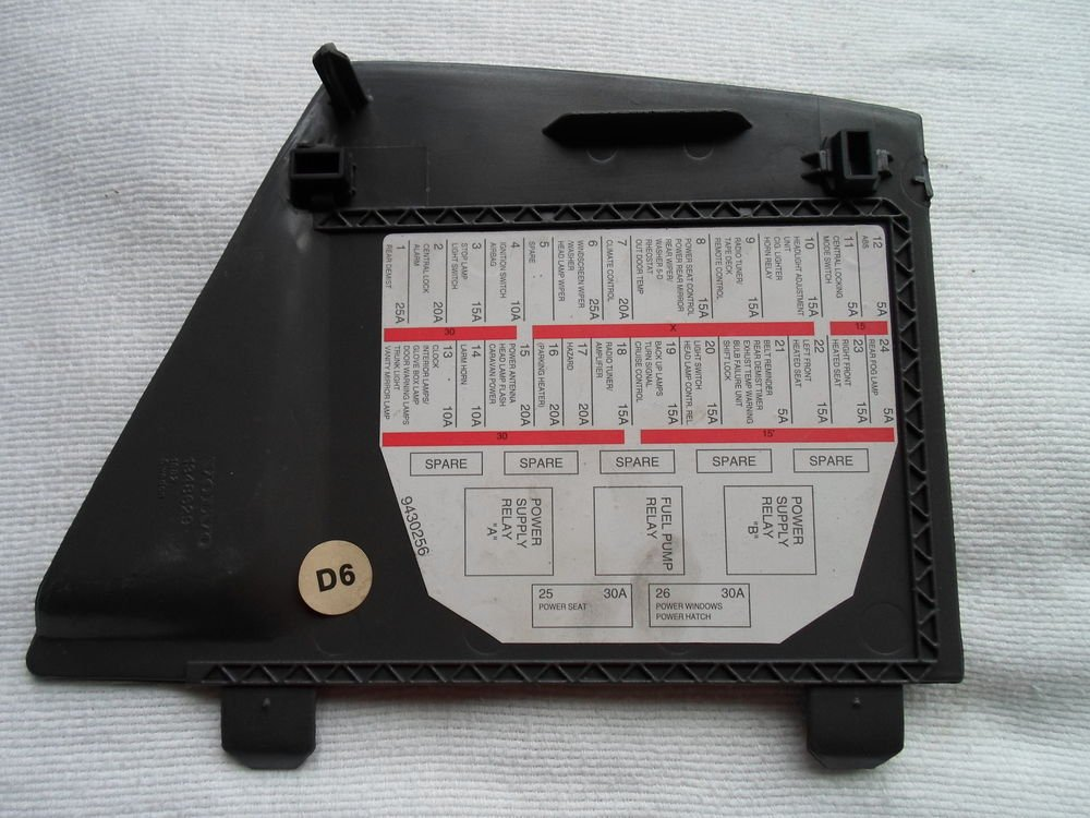 1992 1997 volvo 960 fuse panel cover lid 1348629 oem. Black Bedroom Furniture Sets. Home Design Ideas
