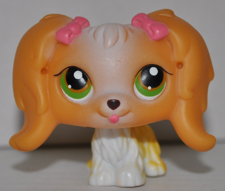 Littlest Pet Shop #79 COCKER SPANIEL Puppy Dog PINK BOWS Green & Gold Eyes