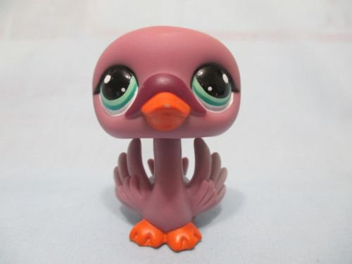 lps  Littlest Pet Shop Black Purple Special Edition Swan # 1400 Bird