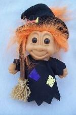 "Vintage Russ Halloween Witch w/ Broom Troll Doll Orange Hair 4.25"" Tall sticker"