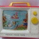 VINTAGE FISHER PRICE 114 GIANT SCREEN MUSIC BOX TV TWO TUNES 1966 WORKS slow USA