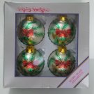 TAIWAN VINTAGE HAND BLOWN GLASS CHRISTMAS RETRO TREE ORNAMENT BALLS GLITTER HORN