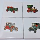 COLLECTIBLE ANTIQUE CLASSIC CAR BAR DRINK GLASS COASTERS TILE RARE ALCOHOL BEER