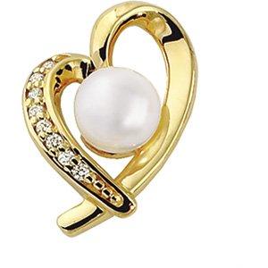 14kt Gold Cultured Akoya Pearl Diamond Heart Pendant